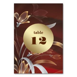 Tarjetas florales elegantes del número de la tabla
