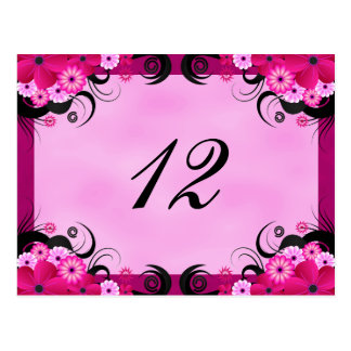 Tarjetas florales fucsias ligeras del número de la