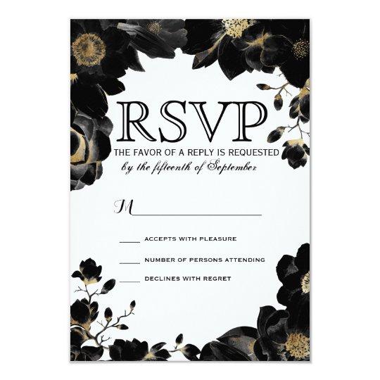Tarjetas florales negras acentuadas de oro de RSVP