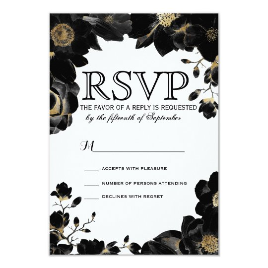 Tarjetas florales negras acentuadas de oro de RSVP Invitación 8,9 X 12,7 Cm