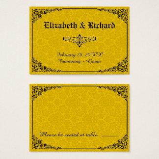 Tarjetas góticas amarillas del lugar del boda del