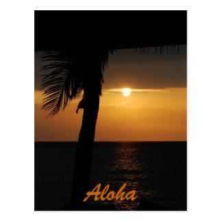 Tarjetas hawaianas de la puesta del sol de la