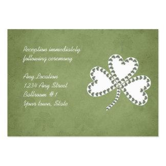 Tarjetas irlandesas de la recepción nupcial de los tarjetas de visita grandes