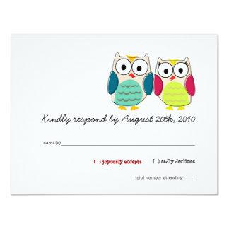 Tarjetas lindas de RSVP de los búhos Invitación 10,8 X 13,9 Cm