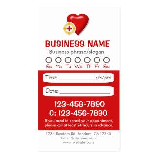 Tarjetas médicas de la cita del corazón tarjetas de visita