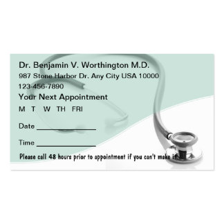 Tarjetas médicas de la cita tarjetas de visita