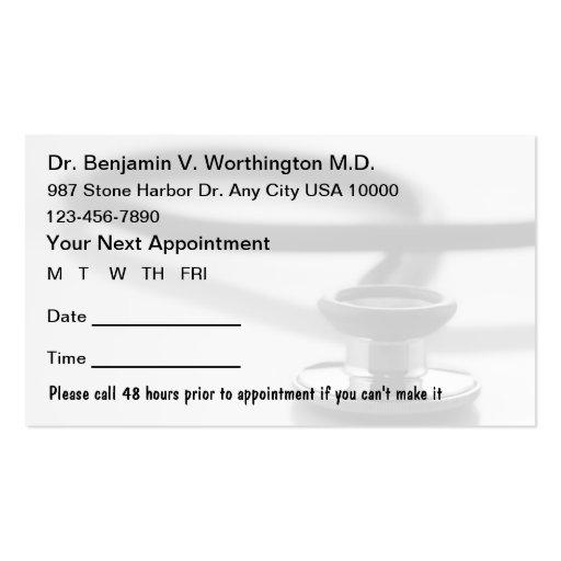 Tarjetas médicas de la cita plantillas de tarjetas personales