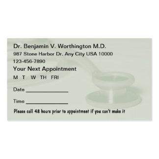 Tarjetas médicas de la cita tarjeta de visita