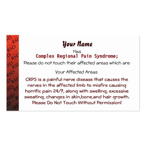 Tarjetas médicas de RSD/CRPS Plantillas De Tarjetas De Visita