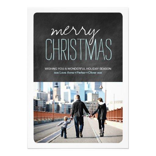 Tarjetas modernas de la foto del navidad de la piz invitacion personalizada