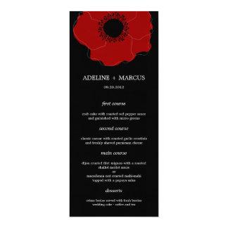 Tarjetas modernas del menú del boda de la amapola invitación 10,1 x 23,5 cm