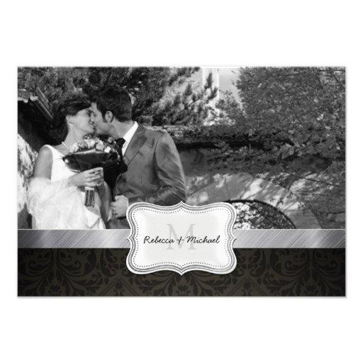 Tarjetas negras de RSVP de la foto del damasco de  Invitación Personalizada