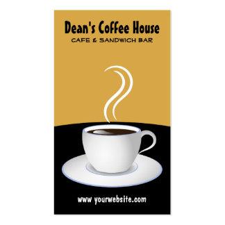 Tarjetas negras y beige de la cafetería del café tarjetas de visita