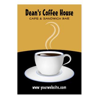 Tarjetas negras y beige del café de la cafetería d plantillas de tarjetas de visita