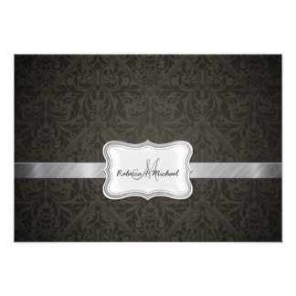 Tarjetas negras y gris oscuro elegantes de RSVP de Invitaciones Personalizada