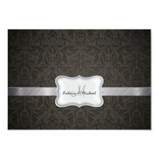 Tarjetas negras y gris oscuro elegantes de RSVP Invitaciones Personalizada