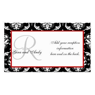 Tarjetas negras y rojas de la recepción nupcial tarjetas de visita