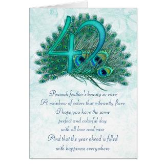 tarjetas numeradas decorativas del 42.o cumpleaños