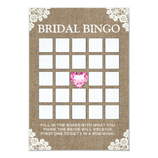 Tarjetas nupciales atadas vintage del bingo de la invitación 8,9 x 12,7 cm