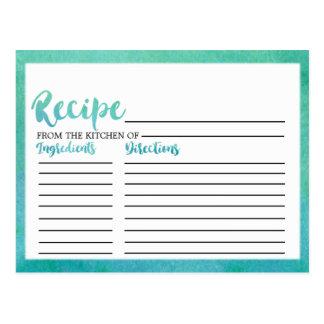 Tarjetas nupciales de la receta de la ducha de la
