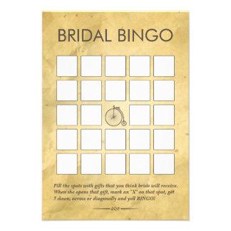 Tarjetas nupciales de papel viejas del bingo de la invitacion personal