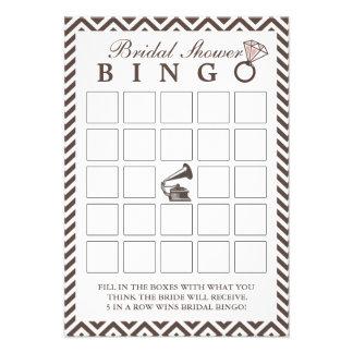 Tarjetas nupciales del bingo de la ducha de Chevro Comunicado