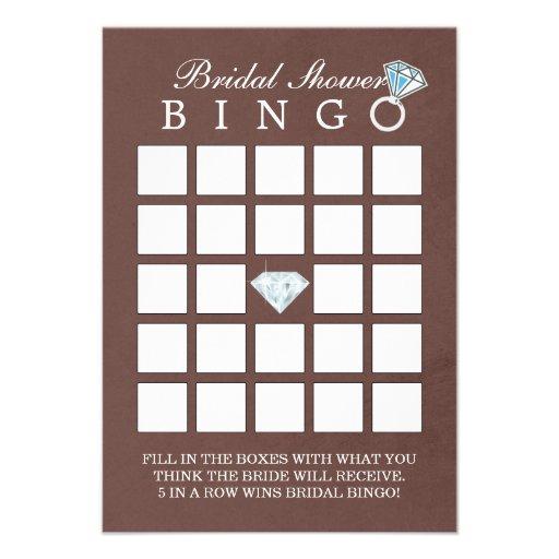 Tarjetas nupciales del bingo de la ducha del diama invitación