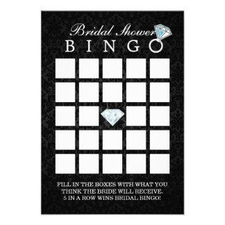 Tarjetas nupciales del bingo de la ducha del diama invitaciones personales