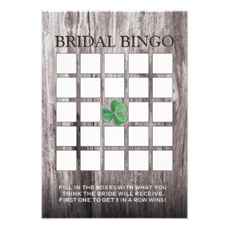Tarjetas nupciales del bingo de la ducha del fondo anuncio
