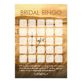 Tarjetas nupciales del bingo de la ducha del país  comunicado