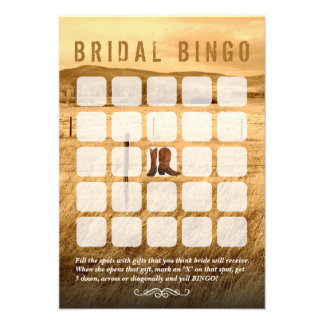 Tarjetas nupciales del bingo de la ducha del país  anuncio