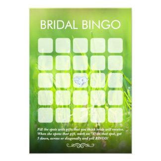 Tarjetas nupciales del bingo de la ducha del verde anuncio personalizado