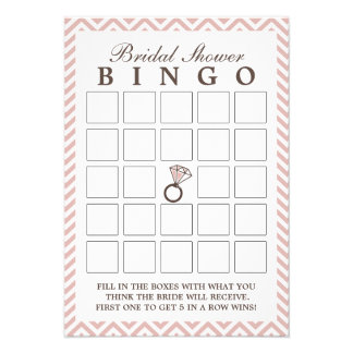 Tarjetas nupciales del bingo de la ducha del zigza anuncio