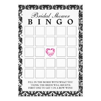 Tarjetas nupciales del bingo del damasco del coraz anuncio