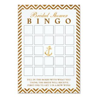 Tarjetas nupciales del bingo del oro del zigzag invitación personalizada