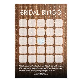 Tarjetas nupciales elegantes del bingo de la secue comunicados personalizados