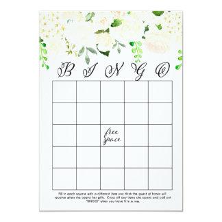tarjetas nupciales florales blancas del bingo de