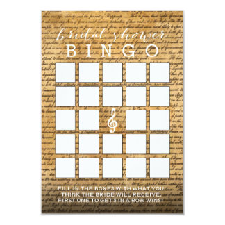 Tarjetas nupciales musicales del bingo de la ducha invitación 8,9 x 12,7 cm
