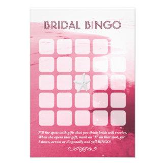 Tarjetas nupciales rosadas con clase del bingo del invitaciones personales