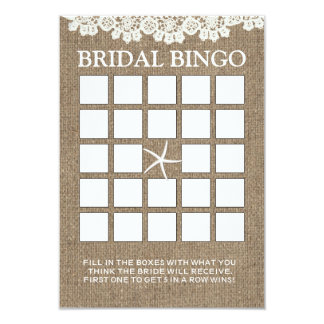 Tarjetas nupciales rústicas del bingo de la ducha invitación 8,9 x 12,7 cm