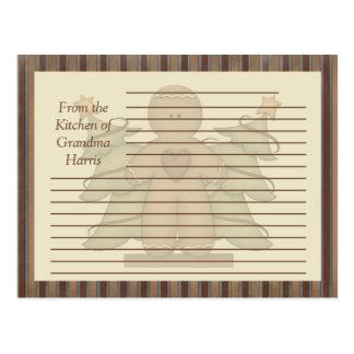 Tarjetas primitivas de la receta del hombre de pan