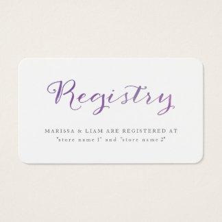 Tarjetas puras/violeta del registro de la acuarela
