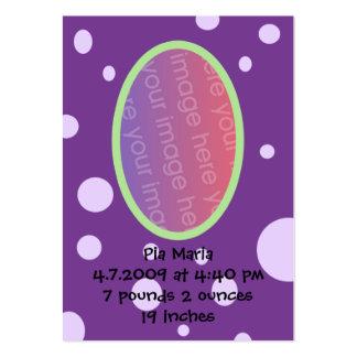 Tarjetas púrpuras de la invitación del nacimiento tarjetas de visita grandes