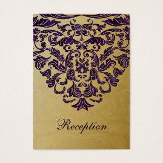 tarjetas púrpuras de la recepción nupcial del oro