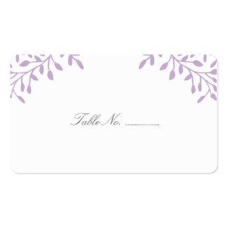Tarjetas púrpuras del lugar del boda del jardín tarjetas de visita