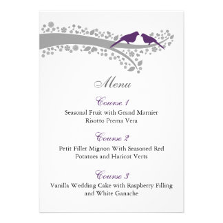tarjetas púrpuras del menú de los lovebirds del ár comunicado