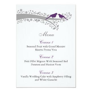 tarjetas púrpuras del menú de los lovebirds del invitación 12,7 x 17,8 cm