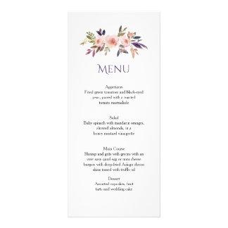 Tarjetas púrpuras del menú de los Wildflowers de