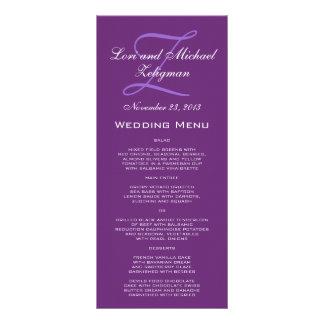 Tarjetas púrpuras del menú del boda del monograma