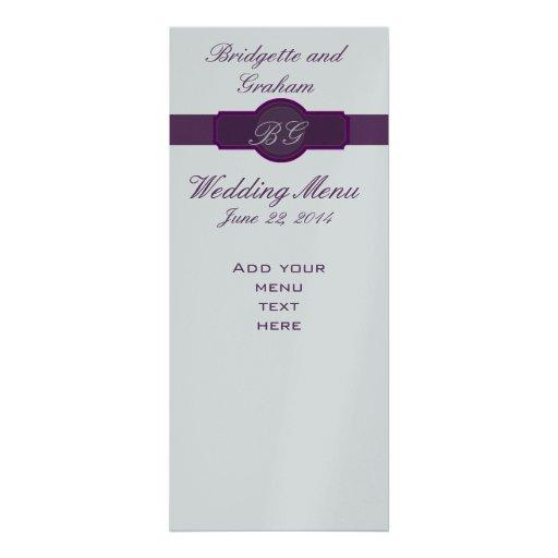 Tarjetas púrpuras del menú del boda en el papel de comunicado personal